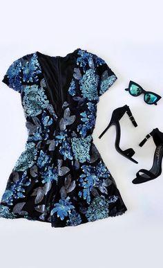 Twilight Blossom Black and Blue Sequin Romper