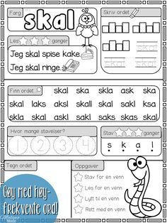 Mengdetrening med høyfrekvente ord! Danish Language, Barn Crafts, Use Case, Double Exposure, First Grade, Fun Learning, Discovery, Kindergarten, Norway
