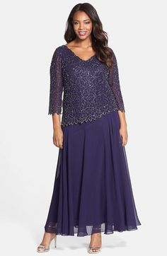 $A450....Free shipping and returns on J Kara Embellished V-Neck Mock Two-Piece Gown (Plus Size) at Nordstrom.com. A beaded floral pattern creates elegant shimmer at the asymmetrical popover bodice atop a V-neck chiffon gown styled with three-quarter sleeves. The A-line skirt falls to a sweeping, ankle-grazing finish.