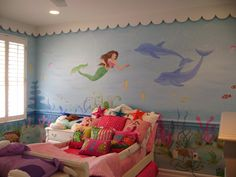 Lily described her vision for her room when we move and this is almost identical to what her little mind came up with. :) She would be in Mermaid Heaven!! :) Little Mermaid Room, Little Girl Rooms, Murals For Kids, Childrens Wall Murals, Cute Mermaid, Mermaid Art, Bedroom Themes, Girl Bedroom Designs, Girls Bedroom