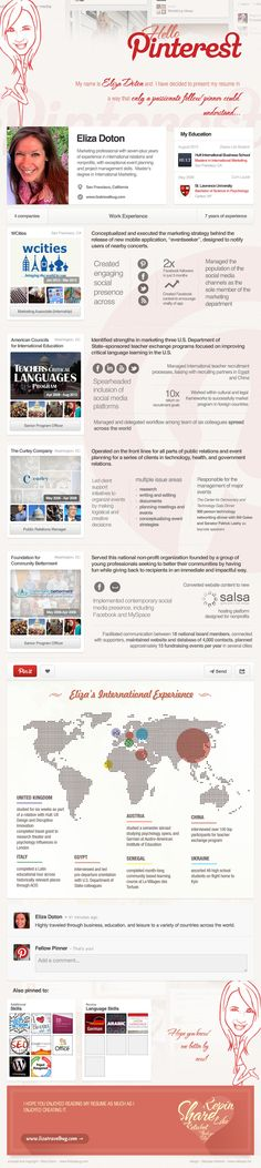 My Dream Job...this woman made an #infographic of her resume to try to get a job working at Pinterest. No word on if it worked, but very creative way to market!