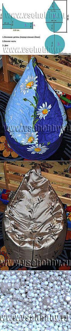 как сшить кресло-мешок (бескаркасная мебель) / кресло-мешок своими руками / выкройка туники большого размера