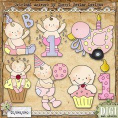 Celebrate Baby Girl 1 - Cheryl Seslar Country Clip Art