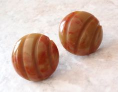 Bakelite Clip Earrings Round Button Two Tone Molded by cutterstone