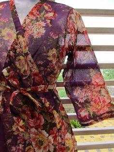 Purple floral kimono robe crossover style $30.00, via Etsy.