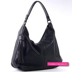 Pojemna czarna efektowna miejska torba damska na ramię albo do przewieszenia - Kliknij zdjęcie i przejdź do naszego sklepu internetowego aby poznać szczegóły dotyczące tej oferty