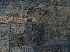 Boro - The small pieces of cloth are sewn together using sashiko, similar to our running stitch. On some of the pieces you can see that the thread used for sewing was taken from the warp or the weft of the woven cloth showing just how important the idea of recycling was. The thread often contrasts with the blue fabric perhaps because the boro were sewn at night with very little light from candles.