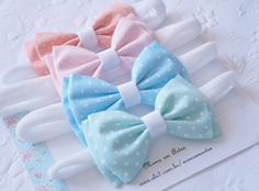 Ties Made of cotton fabric in the silk stocking band The bands . Baby Tie, Baby Bows, Baby Headbands, Diy Hair Bows, Bow Hair Clips, Baby Knitting Patterns, Felt Hair Accessories, Shabby Chic Crafts, Fabric Bows