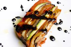 Colorful Vegetable Terrine with Balsamic Reduction