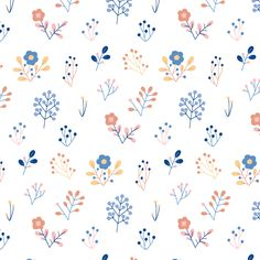 Seamless floral pattern vector folk design by Lenlis on VectorStock® Surface Pattern Design, Pattern Art, Print Patterns, Cute Wallpapers, Wallpaper Backgrounds, Floral Pattern Vector, Pattern Illustration, Floral Illustrations, Art Plastique