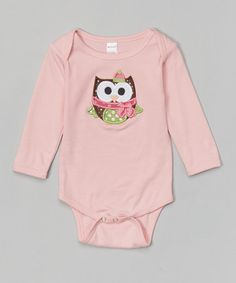 Look at this #zulilyfind! Pink Christmas Owl Bodysuit - Infant #zulilyfinds