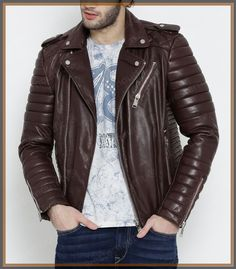 Lambskin Leather Jacket Genuine Mens Stylish Biker Motorcycle Brown slim fit X14 #WesternOutfit #Motorcycle