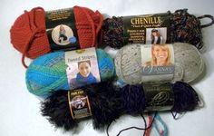 Lion Brand Yarn STASH 6 Skeins Wool-Ease Chenille Tweed Stripe Fun Fur Vanna #LionBrand SOLD