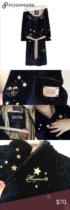 ⚡️Its BACK Harry Potter Robe velour ITS BACK! Limited inventory , this is my favorite piece of my all poshmark closet ,This Velour Robe is like a cape, heavy and fancy looking material. Pointed like a wizard  hood.  You will feel that you are in a Harry Potter movie/ 95% polyester 5% elastane. No smoke or pets in the house, trust me not even pictures tell how pretty this Robe is. Harry Potter Intimates & Sleepwear Robes