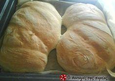 Σπιτικό ψωμί τσιαπάτα Greek Bread, Greek Cake, Bread Rolls, Biscuits, Recipies, Food Porn, Brunch, Food And Drink, Pizza