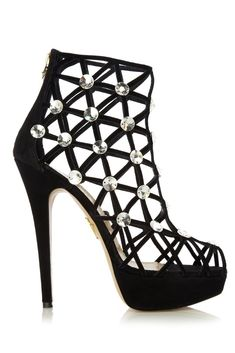Bling It On: Charlotte Olympia Black Crystal Cage Bootie Fall 2012 #shoes #booties #heels