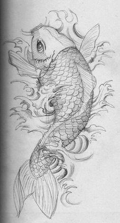 Koi Tattoo Design, Cross Tattoo Designs, Tattoo Design Drawings, Tattoo Sketches, Drawing Sketches, Design Tattoos, Color Tattoos, Japanese Koi Fish Tattoo, Koi Fish Drawing