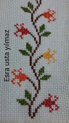 Towel with Cross-Stitch Cross Stitch Bookmarks, Cross Stitch Borders, Cross Stitch Samplers, Cross Stitch Flowers, Cross Stitch Designs, Cross Stitching, Cross Stitch Embroidery, Embroidery Patterns, Hand Embroidery