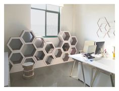 Set Of 3. Honeycomb bookcase. Recyclable Cardboard par FormMaker