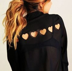 Black Plain Back Hearts Hollow-out Button Up Sheer Point Collar Single Breasted Long Sleeve Blouse - Blouses - Tops