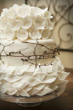 Gorgeous White Fondant Leaves and Flowers Wedding Cake ❤
