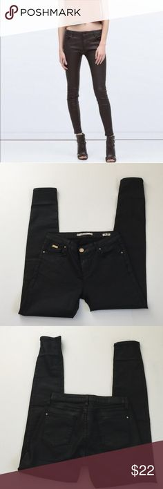 Zara Black Coated Skinny Jeans, size 4 Zara black coated slim fit  skinny jeans in size 4. Has a leather like look to it. Rise is 8.5 and inseam is 29. Please ask if you have any questions. Zara Jeans Skinny