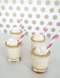From popcorn to hot chocolate, trendy salted caramel seems to pop up in every recipe these days, and it's no wonder—the tasty combination of savory and sweet makes it a tantalizing topping for any dessert, including these cute, kid-friendly shooters that are perfect for birthday parties and baby showers alike. Get the recipe at sugarandcloth.com.