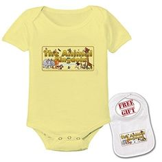 Animal Kingdom - Cute Custom boutique Baby bodysuit onesie & matching bib (Pack of 2), Infant Unisex, Size: 12-18 Months, Yellow