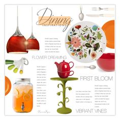 """First Bloom - Dining"" by nonniekiss ❤ liked on Polyvore featuring interior, interiors, interior design, home, home decor, interior decorating, Fishs Eddy, Waechtersbach, Viners and Price & Kensington"