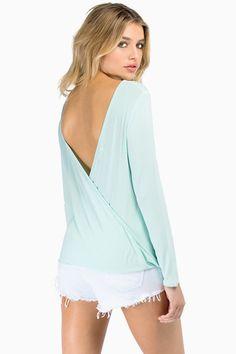 Mint Green Long Sleeve Backless Slim Top