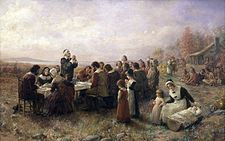 The First Thanksgiving at Plymouth  by Jennie A. Brownscombe. (1914)  Observed byUnited States  TypeNational  DateFourth Thursday in November  2010 dateNovember 25  2011 dateNovember 24  2012 dateNovember 22  CelebrationsGiving thanks, spending time with family, feasting, football games, parades