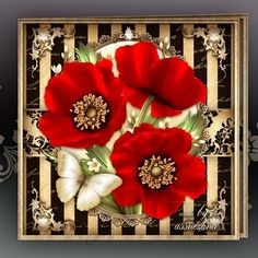 Love Red Poppies Card Mini Kit: 4 sheets for print with decoupage for 3D effect plus few sentiment tags (for your own personal text)