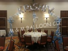Name Banner attached to Roman Columns for 1st Birthday
