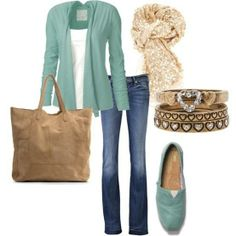 teal & tan outfit