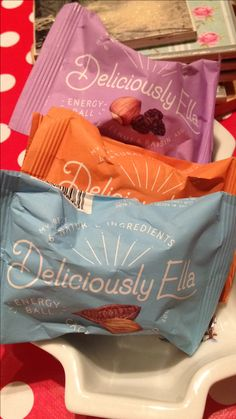 Deliciously Ella's energy balls x omg love x I also love making theses - I store mine in freezer and take when I'm out and about x managed to get her packaged Ines in Waitrose , Holland & Barrett have just got theses too x