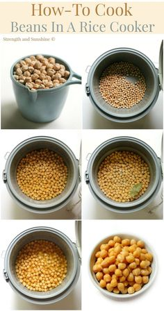 How-to cook beans in a rice cooker. A simple no-fuss method to cook any amount of dried beans perfect for the freezer and easy on the stomach without any bean bloat! Bean Recipes, Rice Recipes, Whole Food Recipes, Dog Food Recipes, Vegetarian Recipes, Dinner Recipes, Potato Recipes, Casserole Recipes, Soup Recipes