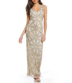 d7b5e1c37de Pisarro Nights V Neck Sleeveless Beaded Gown