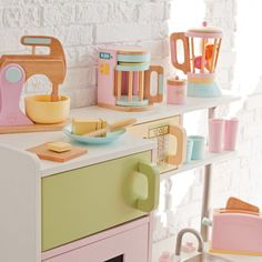 Complete Your Kid's Imaginary Kitchen with Wooden KidKraft Pastel Kitchen Accessories Play Set Modern Baby Toddler Products - Plioz Cubby Houses, Play Houses, Kidkraft Kitchen, Ikea Duktig, Play Kitchen Accessories, Kids Play Kitchen, Play Kitchens, Cheap Kitchen, Pastel Kitchen