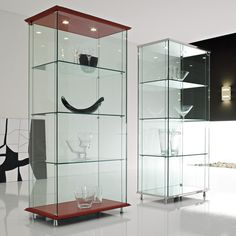 Glass Showcase Designs For Living Room 3X3 Wall Mounted Display Case Wslider Doors & Mirror Back