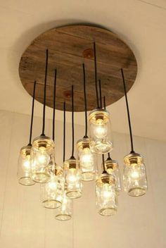 Farmhouse, Mason Jar Lights With Reclaimed Wood and 10 Pendants. Handmade, Rustic, Modern Farmhouse Mason Jar Chandelier Mason Jar lighting by Bornagainwoodworks Mason Jar Chandelier, Mason Jar Lighting, Diy Chandelier, Chandeliers, Home Lighting, Kitchen Lighting, Table Lighting, Hallway Lighting, Unique Lighting