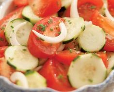 Summer Tomato, Onion & Cucumber Salad - this is AWESOME with Vidalia onion dressing or poppy seed dressing!