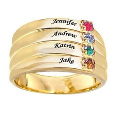 Mothers' Simulated Birthstone Stack-Look Family Ring in Sterling Silver with 24K Gold Plate (2-4 Names and Stones) - Zales