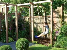 The wooden pergola is a good solution to add beauty to your garden. If you are not ready to spend thousands of dollars for building a cozy pergola then you may Back Gardens, Small Gardens, Outdoor Gardens, Kids Outdoor Spaces, Outdoor Life, Backyard Play, Backyard Landscaping, Family Garden, My Secret Garden
