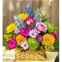143173Ljpg There's so much that inspires us about the garden—bright colors, blooming flowers. That's why we've captured it all in one charming basket! Filled with fresh roses, sunflowers, daisies and more, this hand-designed arrangement is just the gift to get them smiling—whatever the occasion!