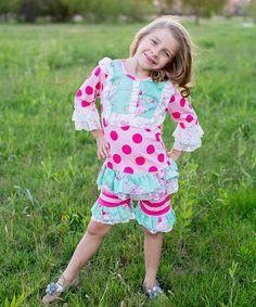 Look what I found on #zulily! Pink Dot Top & Shorts - Toddler & Girls #zulilyfinds