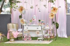 Partyscape with backdrop and side chair from Vintage Alice in Wonderland Birthday Party at Kara's Party Ideas.