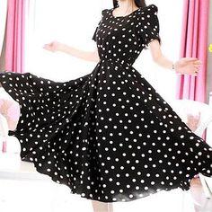 $13.58 Polka Dot Print Beam Waist Scoop Neck Color Block Short Sleeve Casual Dress For Women