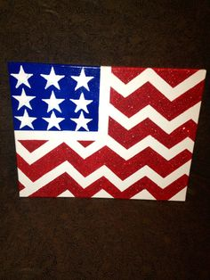 Chevron American flag on canvas on Etsy, $10.00
