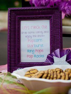 Rock Star Party, Let's Rock out: Grab some Popcorn, Starburst, Ring pops, Pop Rocks!!!