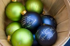 Christmas ornaments personalized by wedding guests
